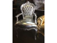 Silver French style chair with arms