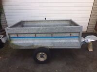 Metal car trailer with wooden base. 100x160 cm