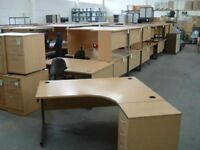 Quality Used Beech Curved Workstation & Pedestal + Key - FREE DELIVERY