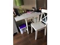 Ikea ingolf desk chair and hemnes bedside cabinet.