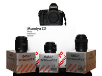 Boxed Mamiya ZD Digital Medium Format Camera with 645 AF 45mm F2.8 Lens, 80mm F2.8 & 150mm F3.5 Lens