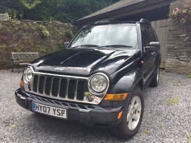 Jeep Cherokee CRD Limited 2007. 4x4. 2.8 Diesel. Manual. 12 months MOT. Black. Leather, tow bar.