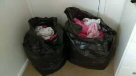 Newborn and 0-3 girls clothes, cot sheets, blankets etc