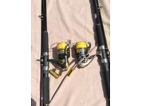Sea fishing Rods & Reels with Ron Thompson rod stand