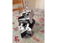 Johnson brothers set of 6 porcelain cups / mugs black & white & silver mug tree