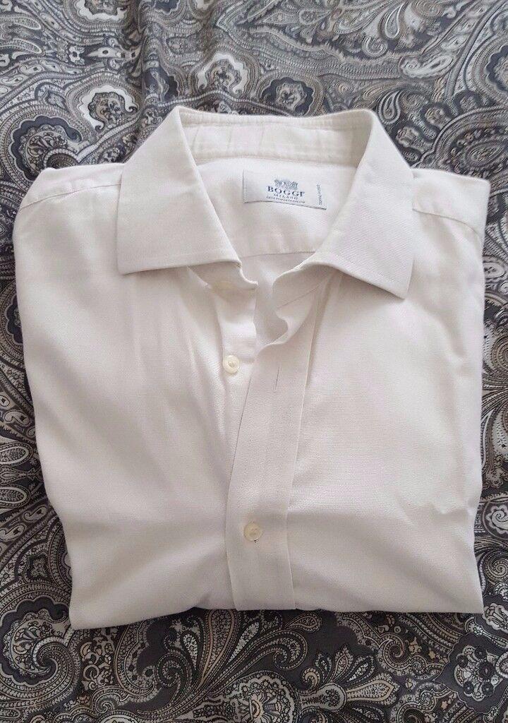 Boggi (Milan) Men's Designer Off White Two Ply Cotton Shirt – collar size 16½. RRP £79.00