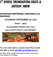 1st Annual Thanksgiving Craft & Artisan Show