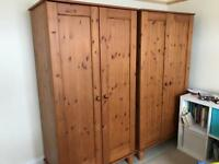 2 double wooden wardrobes