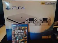 ps4 slim silver limited edition with 2 controllers and gta new
