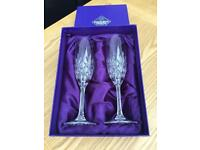 Edinburgh Crystal Champagne Flutes (pair), boxed.