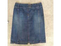 Denim Fitted Skirt - Size 6 - Warehouse