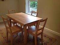 IKEA pine square table 74 cm x 74 cm and four pine chairs