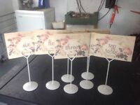 7 metal table number holders with number cards
