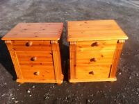 Gorgeous pair of three drawer solid pine bedside cabinets