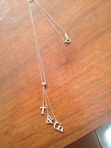 Sterling Silver T&Co drop dangle necklace