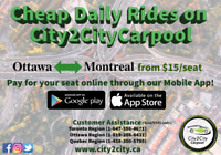 OTTAWA{7am, 5pm} to MONTREAL{9am, 8pm} from $10/seat!