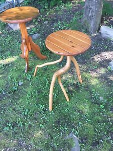 Rustic wooden side tables