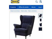 Beautiful IKEA blue velvet Strandmon armchair with footstool