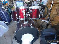 5 Piece Drum Kit for Sale: Kick, Snare, 2 Rack Toms & 1 Floor Tom + Crash-Ride Cymbal