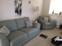 DFS SOFA ARMCHAIR AND FOOTSTOOL