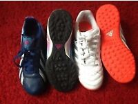 2 Pairs Boys UK3 ADIDAS Astro Trainers 1 F10 and 1 White