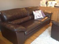 Sofas: 2 matching dark brown leather sofas 2 seater & 3 seater