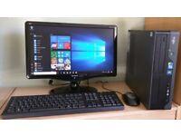 "Fujitsu Windows 10 Pro Slim PC Computer/WIFI/2GB RAM/250GB/19""Widescreen Monitor"