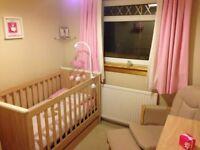 Mamas & Papas cot bed, dresser/changing unit, shelf, chair, unit. Nursery furniture excellent con.