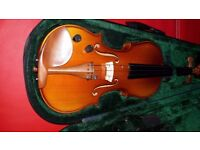AS NEW CONDITION - Violin with case and leads.
