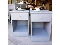 Beautiful soft grey antique rose bedside chests with drawer