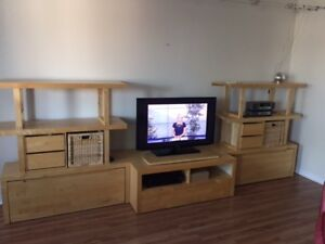 IKEA TV stand and shelving unit
