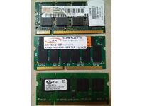 Three Laptop RAM of 2x 512MB, 1x 256 for £10
