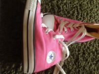 Size 8 kids pink Converse HiTop trainers