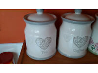 Morrisons Sugar Canister White and Grey Heart Design