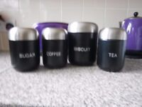 4 piece tea, coffee, sugar and biscuit set