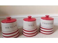 3 storage jars, coffee, tea and sugar bnib from next