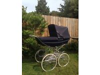 Vintage hard bodied navy silver cross pram