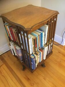 Antique revolving bookcase with hidden compartments