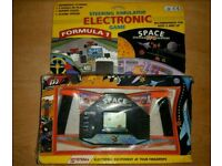2 Vintage Retro 80s Electronic LCD Game Space Handheld & Defence Warship Game Free P&P