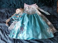 FANCY DRESS - OFFICIAL DISNEY STORE ELSA COSTUME SIZE 7-8 WITH WIG, HANDBAG AND JEWELERY