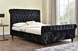 NEW Double / King Crushed Velvet Sleigh Designer Bed and Mattress Optional ==SAme DAy DElivery==
