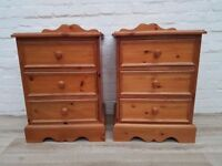 Solid Pine Three Drawer Bedside Cabinets (DELIVERY AVAILABLE)