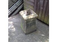 Antique square buff coloured chimney pot
