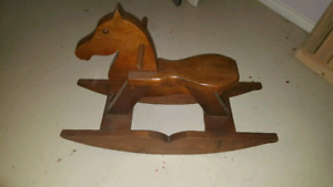 WOODEN ROCKING HORSE IN MINT CONDITION