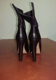 Ladies Black Prada Heels / Boots EU 39