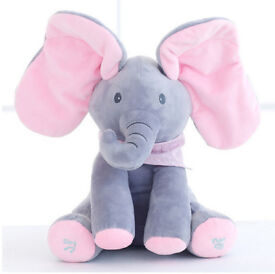 Flappy The Peek a Boo Baby Grey & Pink Elephant Singing Animated Plush Toy Watch Video!