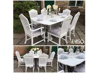 Dining Table & 6 Rattan Chairs ~ Double Extending ~ White & Silver Grey Crushed Velvet