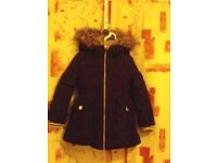Childs Black London Fog Hooded Padded Jacket – Size Age 4-5yrs