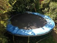 Used 8ft trampoline. Worn but works fine