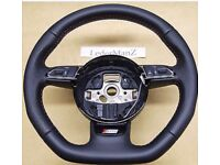 Audi a5 s line flat bottom steering wheel fit a3 a4 a5 a6